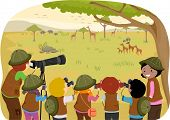 Illustration of Kids in the Middle of a Field Trip in the Safari poster