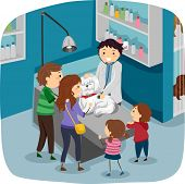 Illustration of a Family Taking Their Dog to the Veterinarian for a Checkup poster