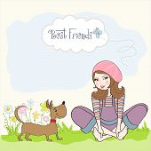 romantic girl sitting barefoot in the grass with her cute dog vector illustration poster