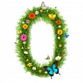 Fresh grass number 0 with blooms and butterflies. isolated on white background poster