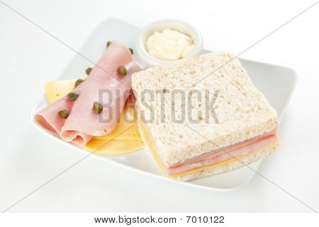 delicious ham and cheese sandwich with mayonnaise poster
