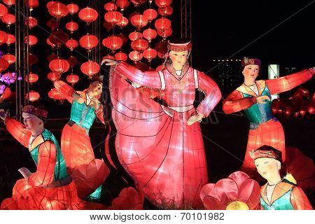 lanterns showing Chinese dance scene