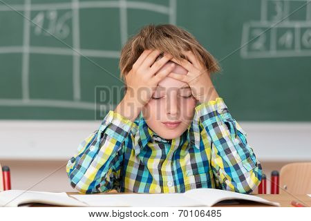 Young Boy Concentrating On His Schoolwork