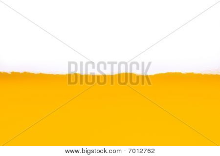 White Torn Paper On Yellow Background