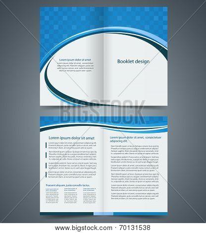 Blue bifold brochure template design business leaflet booklet poster