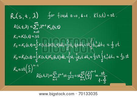 Resolvent kernel using Neumann Series method hand drawn on green board