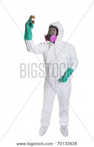 A man in a bio hazard suit looking at a sample, shot on a white background.