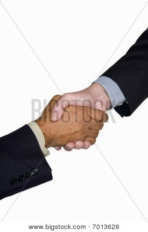 interracial business handshake