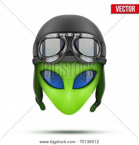 Green Alien head in aviator helmet.. Vector.