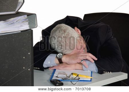 caucasian senior manager having a power nap