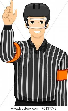Illustration of a Man Dressed as an Ice Hockey Umpire