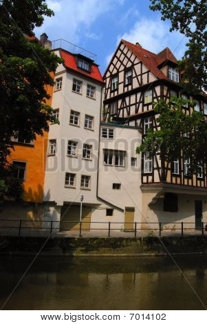 Street of Bamberg and Regnitz canal