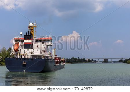 Tanker sails on Welland Canal in Canada