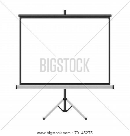 Blank Projector Screen With Tripod Isolated For Presentation In Business Of Paper Illustration