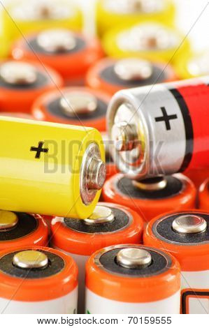 Composition with alkaline batteries. Chemical waste . poster