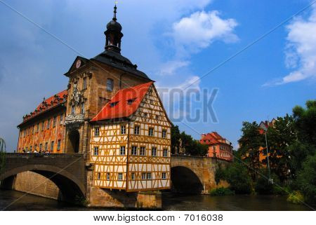 Medieval town hall on the bridge Bamberg Bavaria Germany poster