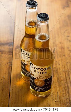 Sarajevo, Bosnia and Herzegovina - August 16, 2014:  Corona Extra Beer. Brewed by Cerveceria Modelo, Mexico.