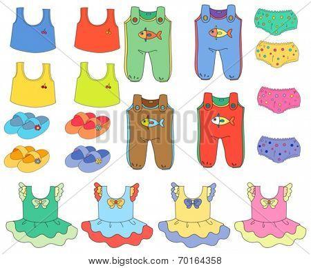 Illustration of a set of children clothes