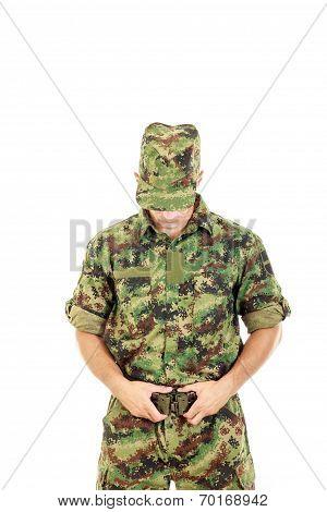 Soldier Warrior In Military Camouflage Uniform Fastened Belt