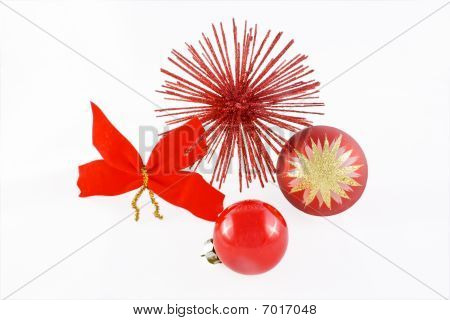 Christmas balls with red flake and red star