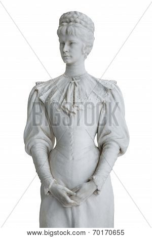 Isolated Statue Of Empress Elisabeth Ii From Austria In Corfu At The Achilleion.