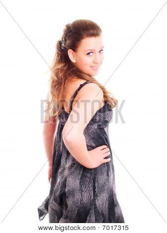 Smiling Girl In Summer Dress Over White Background