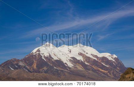 Illimani Mountain And Full Moon