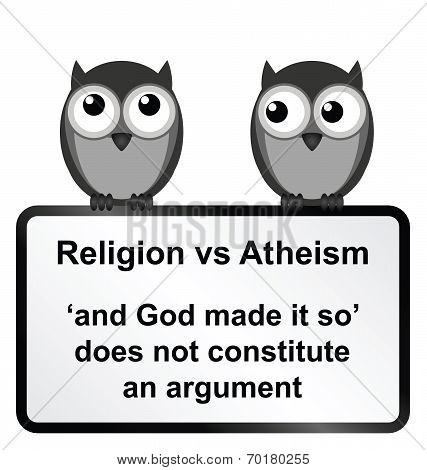 Monochrome religion verses atheism sign isolated on white background poster