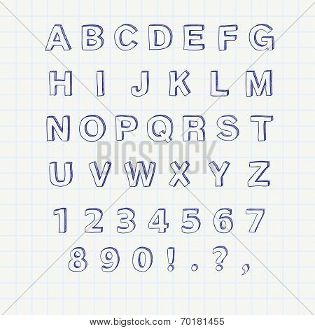 Hand drawn sketch alphabet. Handwritten font. Isolated in white background. Letters, uppercase, lowe