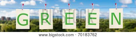 Panorama Of A Clothes Line With The Word Green