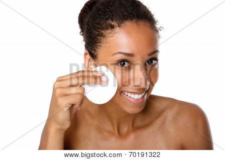 Young Woman Removing Make Up With Pad