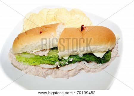 Tuna Fish Sandwich Served with Potato Chips poster
