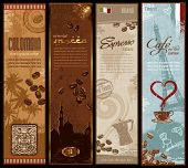 coffee around the world - set of four detailed banners (grunge is removable) poster