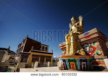 Golden Maitreya Buddha statue in Likir Monastery