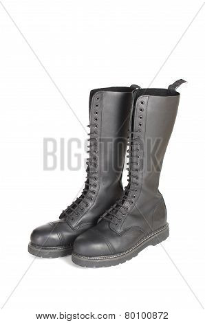 New Knee High Lace Up Black Combat Boots