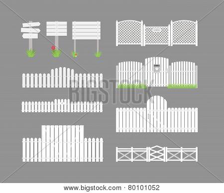 Set of white fences