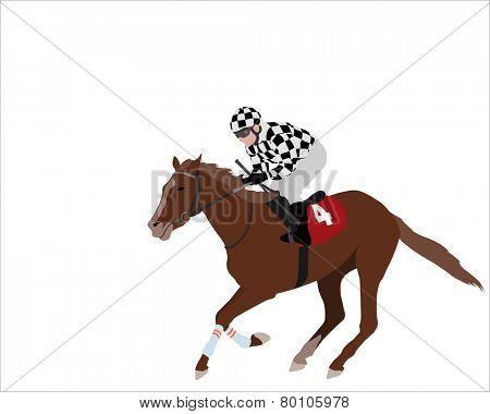 jockey riding race horse illustration 2