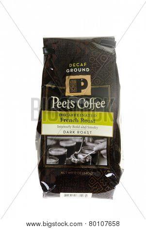 Hayward, CA - January 11, 2015: 12 Oz packet of Peets Decaffeinated French Roast coffee