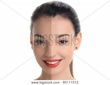 Beautiful young woman with sexy red lips smiling before and after retouching.