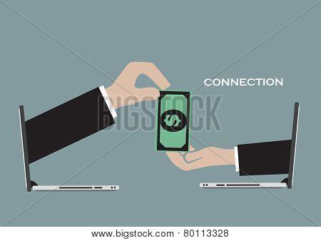 Business Transaction Over Internet Technology Conceptual Vector Illustration