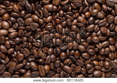 Background from roasted coffee beans close-up.