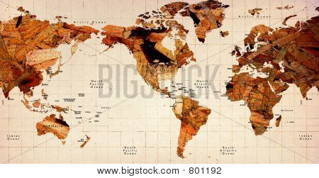 Wooden Old World Map