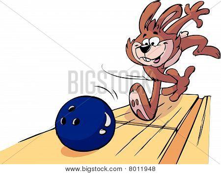 very sporty happy bowling rabbit