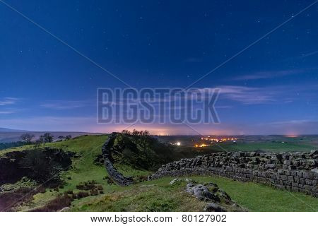 Walltown Crags On Hadrians Wall At Night