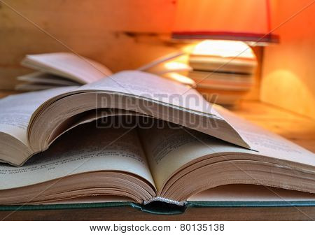 Open book and a table lamp