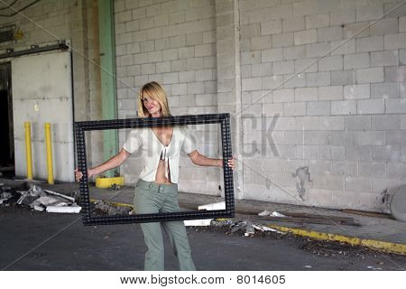 Sexy Blonde Holding a Picture Frame (2)