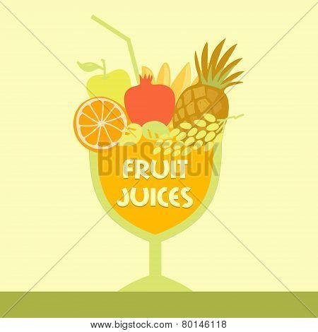 Vector logo fruit juice. Multifruit. Smoothies.