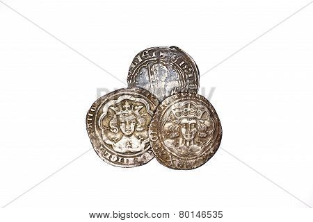Antique French Silver Coins On White Background