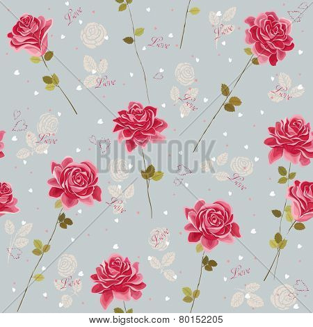 Vector seamless pattern with roses and hearts