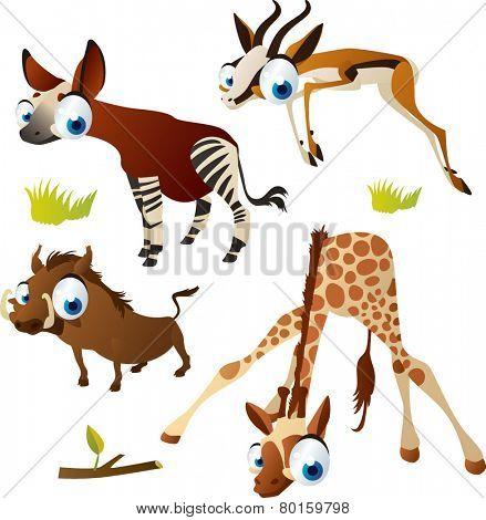 vector isolated cartoon cute animals set: safari ungulates: okapi, springbok, giraffe, warthog